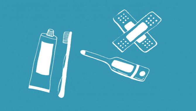 toothpaste, thermometer, bandaids