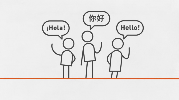Cartoon drawing of people speaking different languages