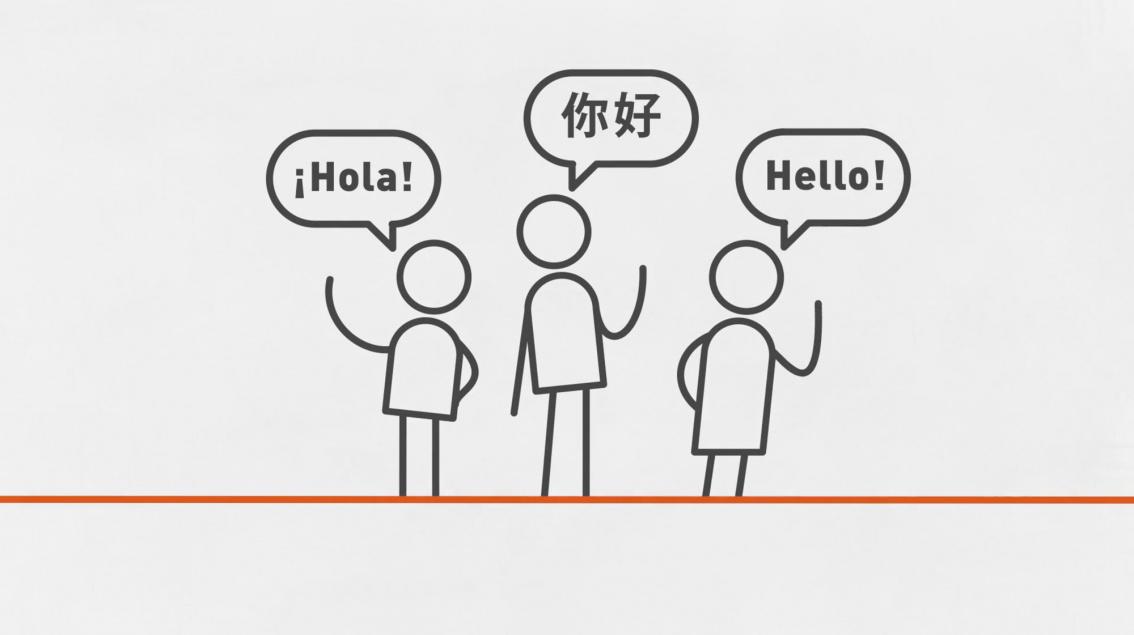 Cartoon people speaking different languages